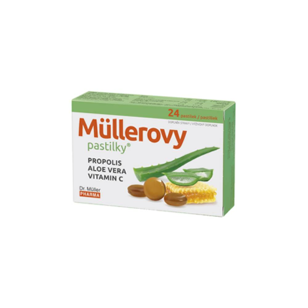 DR. MÜLLER MÜLLEROVE PASTILKY Propolis, aloe vera, vitamín C 24 kusov