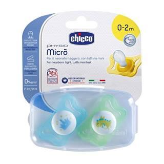 Chicco Cumlík Physio Micro, silikónový, 0-2m+, modrá, 2ks