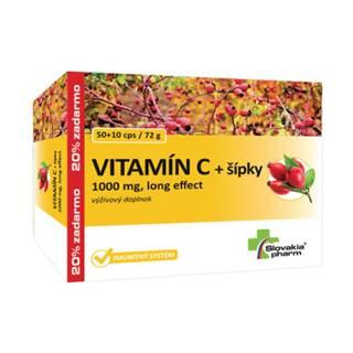 SLOVAKIAPHARM Vitamín C 1000 mg + šípky long effect 50 + 10 kapsúl ZADARMO