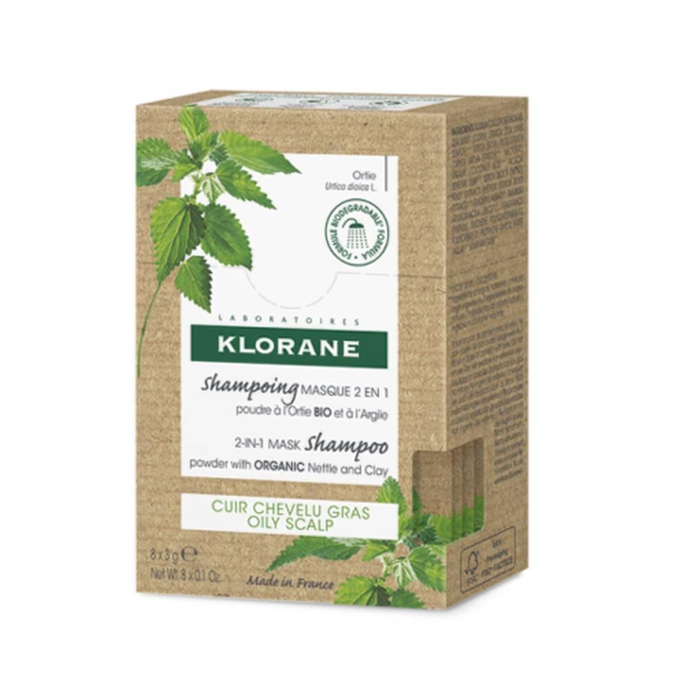 Klorane KLORANE Šampón-maska 2 v 1 v prášku s BIO žihľavou a ílom, mastná vlasová pokožka 8 x 3 g