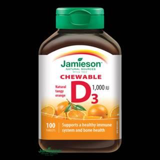 JAMIESON Vitamín D3 1000 IU pomaranč 100 cmúľacích tabliet