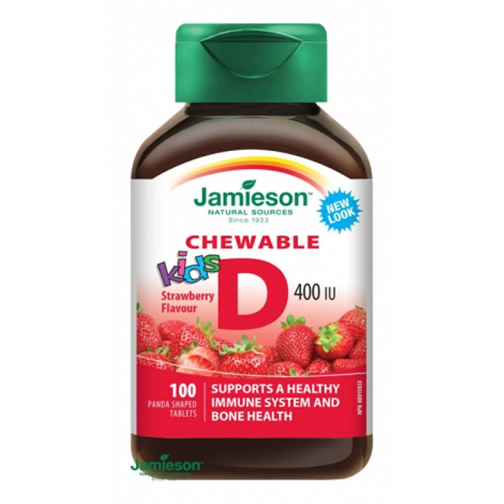 Jamieson Jamieson Vitamín D3 Kids 400 IU tablety na cmúľanie s príchuťou jahody 100 tbl