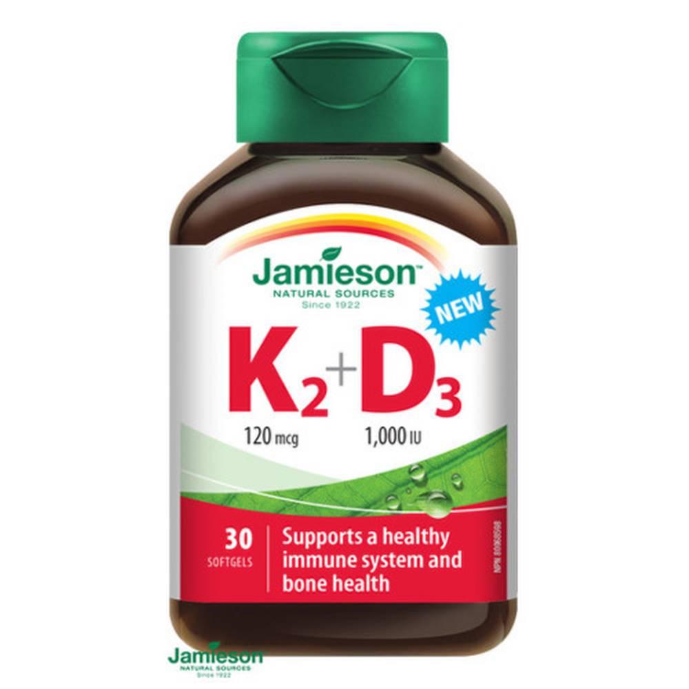 Jamieson JAMIESON Vitamíny K2 120 µg + D3 1000 IU 30 kapsúl