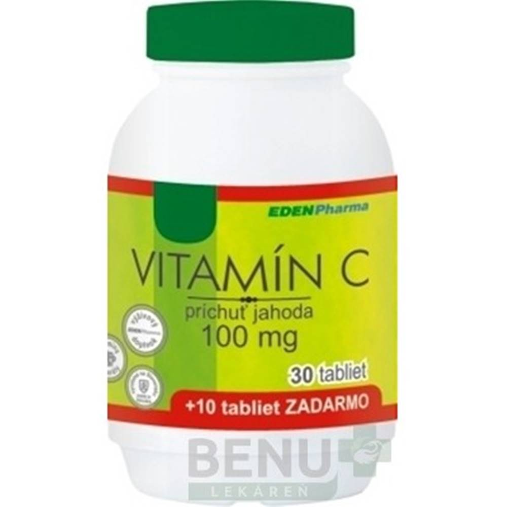 Edenpharma EDENPharma VITAMÍN C 100 mg príchuť jahoda tbl 30+10 zdarma