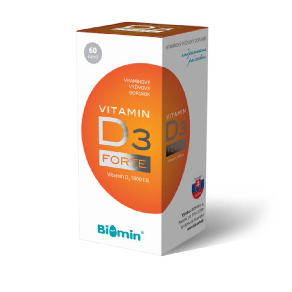 Biomin BIOMIN Vitamín D3 forte 1000 I.U. 60 kapsúl